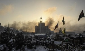 Sunrise above a barricade in Kiev