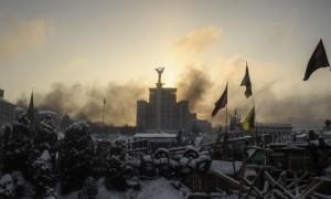 Sunrise above a barricade in Kiev